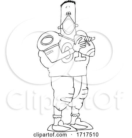 Cartoon Black and White Nun Football Player Wearing a Mask by djart