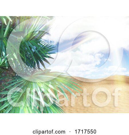 3D Sunny Beach Landscape with Palm Tree Against Sunny Sky by KJ Pargeter
