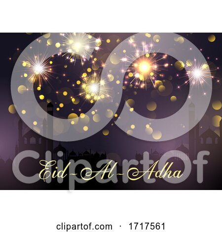 Eid Al Adha Background with Mosques and Fireworks by KJ Pargeter