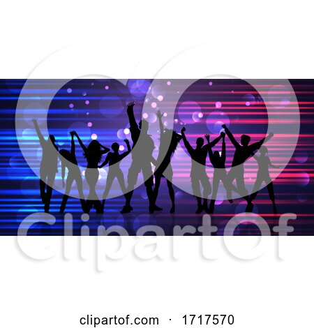 Abstract Banner with Silhouettes of Party People by KJ Pargeter