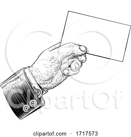 Hand in Suit Holding Business Card Letter Flyer by AtStockIllustration
