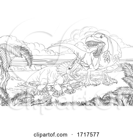 Hungry Tyrannosaurus Rex Dinosaur Attacking a Triceratops Black and White by AtStockIllustration