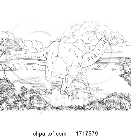 Diplodocus Dinosaur in a Landscape by AtStockIllustration