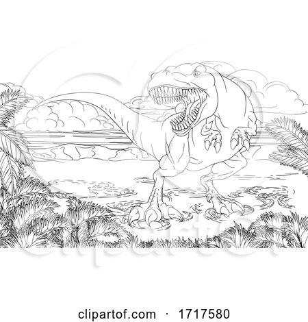 Vicious Tyrannosaurus Rex Dinosaur by AtStockIllustration