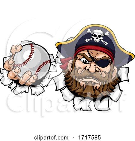 Pirate Baseball Ball Sports Mascot Cartoon by AtStockIllustration