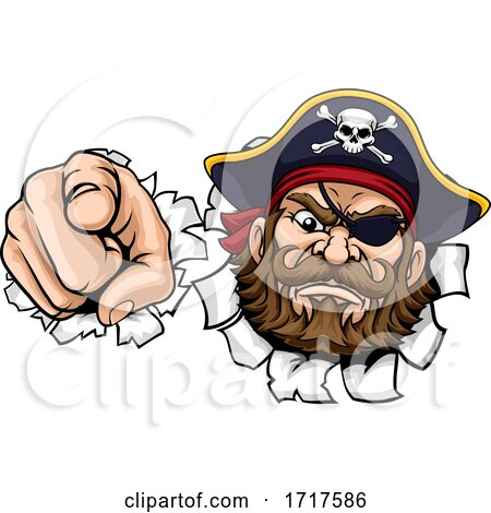 Pirate Captain Cartoon Pointing Tearing Background by AtStockIllustration