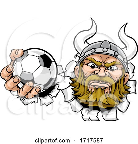 Viking Soccer Football Ball Sports Mascot Cartoon by AtStockIllustration