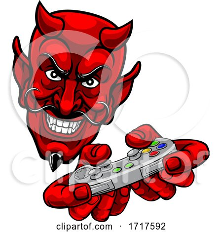 Devil Gamer Video Game Controller Mascot Cartoon by AtStockIllustration