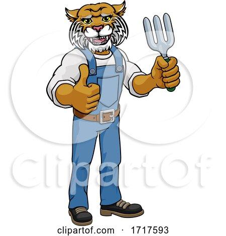 Wildcat Gardener Gardening Animal Mascot Posters, Art Prints