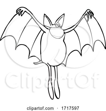 Cartoon Black and White Coronavirus Dog Bat Wearing a Mask by djart