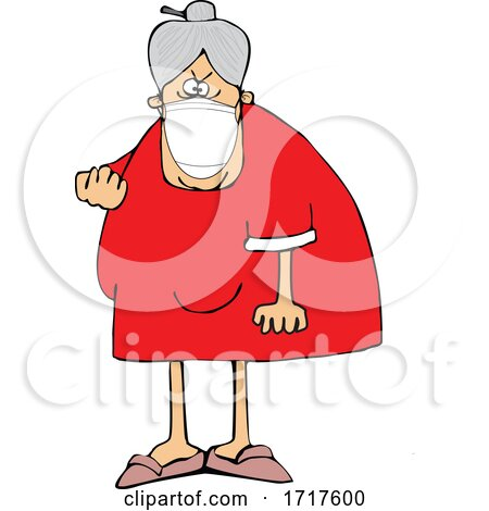 Cartoon Angry Granny Wearing a Mask and Flipping the Bird Posters, Art Prints