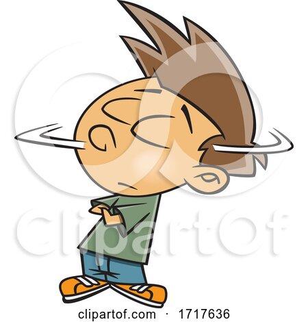 Cartoon Stubborn Boy Shaking His Head by toonaday