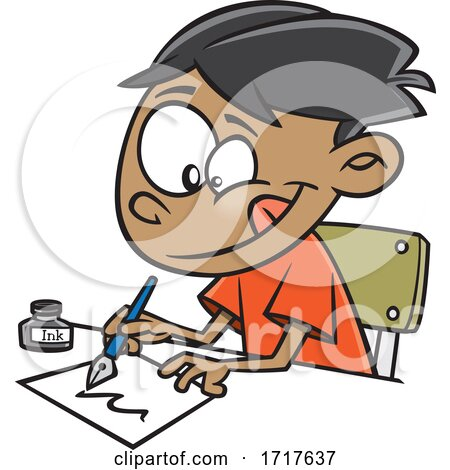 Cartoon Boy Writing with a Fountain Pen Posters, Art Prints