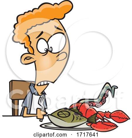 Cartoon Teen Boy with Sea Food Posters, Art Prints
