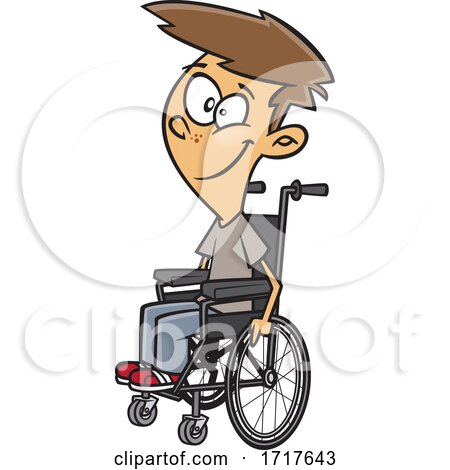 Cartoon Teen Boy in a Wheelchair by toonaday