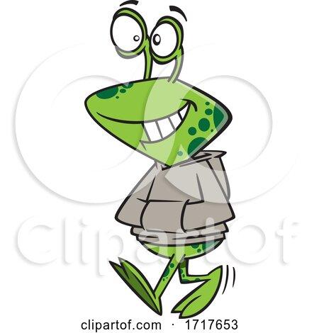 Cartoon Teen Alien Wearing a Hoodie by toonaday