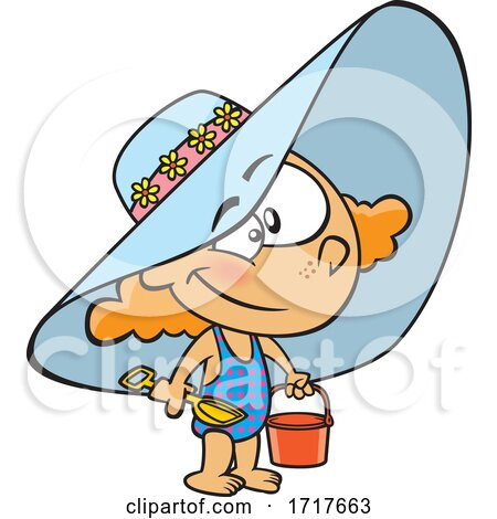 Cartoon Girl Wearing a Beach Hat and Swimsuit and Carrying a Beach Bucket Posters, Art Prints