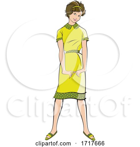 Fashionable Woman in a Retro Green Dress by Lal Perera