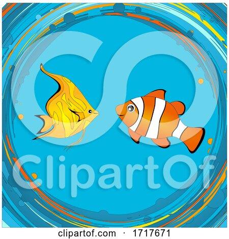 Tropical Fishes Clip Art Hand Drawn Background by elaineitalia