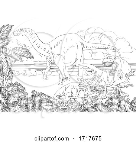 Black and White Diplodocus Dinosaur by a T Rex and Triceratops in a Fight by AtStockIllustration