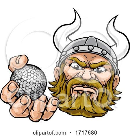 Viking Golf Ball Sports Mascot Cartoon by AtStockIllustration