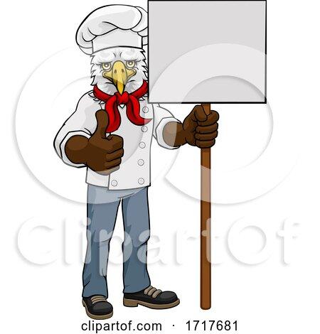 Eagle Chef Cartoon Restaurant Mascot Sign by AtStockIllustration