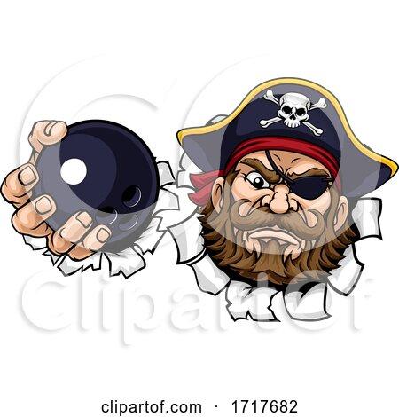 Pirate Ten Pin Bowling Ball Sports Mascot Cartoon by AtStockIllustration