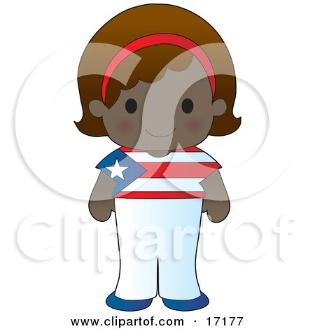 Cute Puerto Rican Girl Wearing A Flag Of Puerto Rico Shirt Clipart Illustration by Maria Bell
