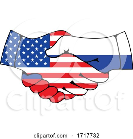 Russian and American Flag Hands Shaking Posters, Art Prints