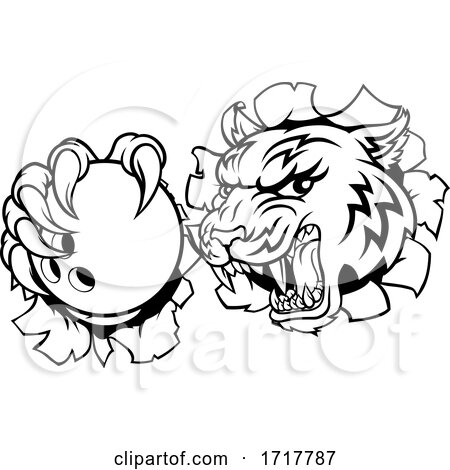 Tiger Bowling Player Animal Sports Mascot by AtStockIllustration