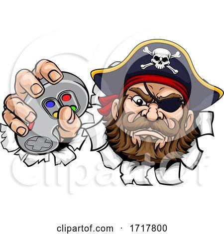 Pirate Gamer Video Game Controller Mascot Cartoon by AtStockIllustration
