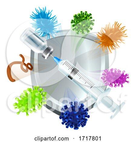 Medical Injection Vaccination Syringe Vial Shield by AtStockIllustration