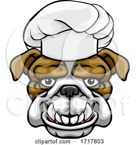 Bulldog Chef Mascot Cartoon Character by AtStockIllustration