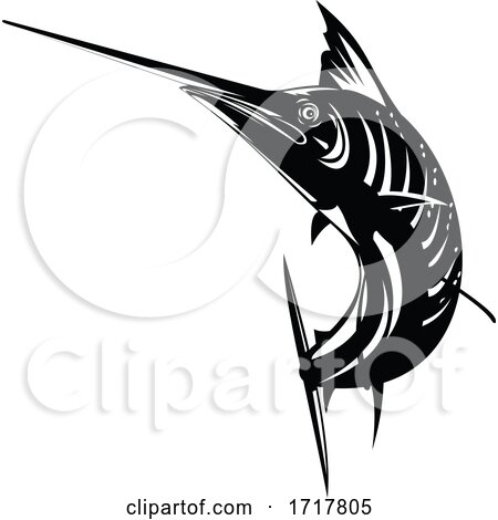 Atlantic Sailfish Jumping up Woodcut Retro Black and White by patrimonio