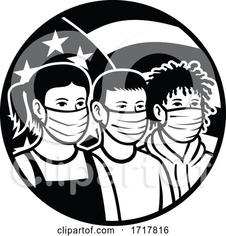 American Children of Different Race Wearing Face Mask Circle Retro Black and White by patrimonio