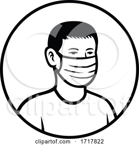Asian Teenage Boy Wearing Face Mask Front View Circle Retro Black and White by patrimonio