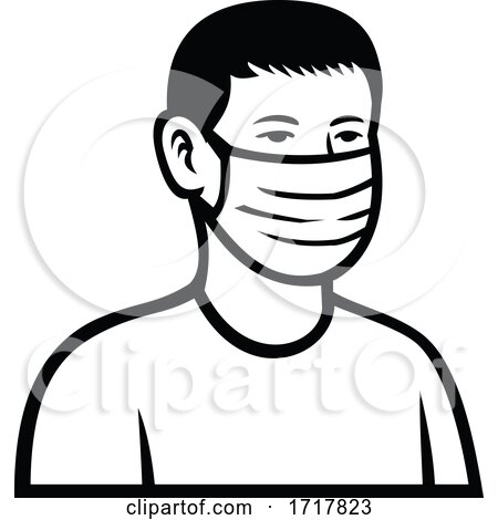 Asian Teenage Boy Wearing Face Mask Front View Retro Black and White by patrimonio