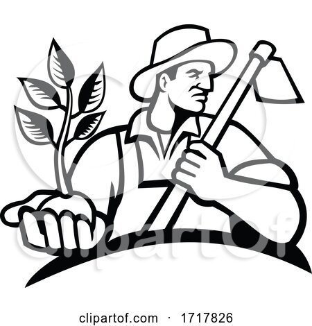 Organic Farmer Holding Plant and Grab Hoe Mascot Black and White by patrimonio