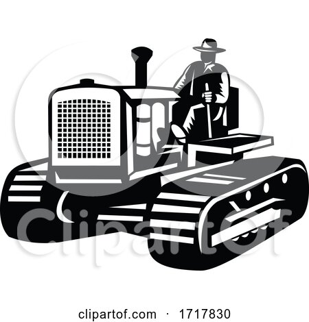 Farmer Driving Vintage Farm Tractor Side View Retro Black and White Posters, Art Prints