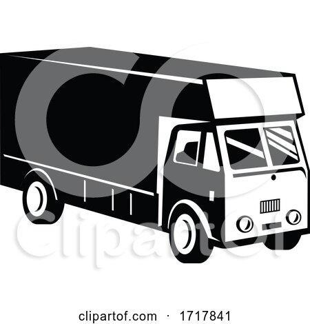 Delivery Van Viewed from a High Angle Retro Black and White by patrimonio