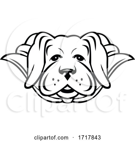 Super Labrador Dog Wearing Cape Front View Black and White by patrimonio