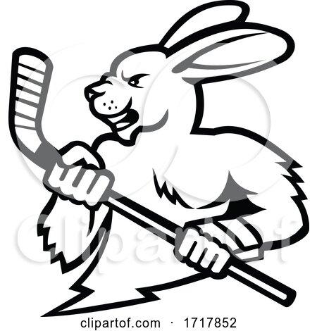 Jackrabbit with Ice Hockey Stick Mascot Black and White by patrimonio