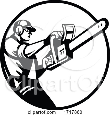 Arborist or Tree Surgeon Holding Chainsaw Side View Circle Retro Black and White by patrimonio