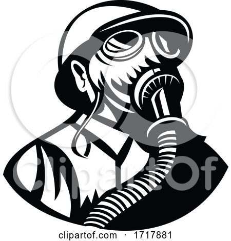 Gasman Wearing a Hardhat and Gas Mask Looking up Retro Black and White by patrimonio