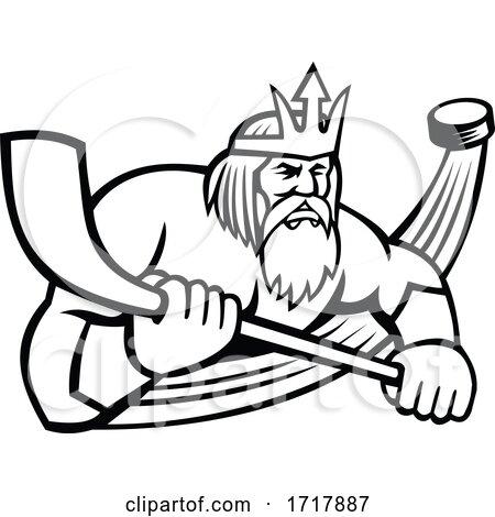 Poseidon with Ice Hockey Stick and Puck Sports Mascot Black and White by patrimonio