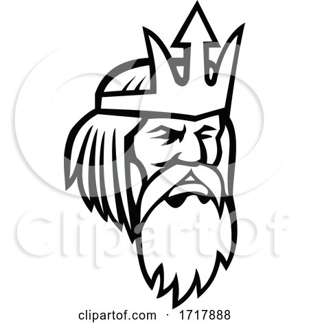 Head of Poseidon or Neptune Looking to Side Mascot Black and White by patrimonio