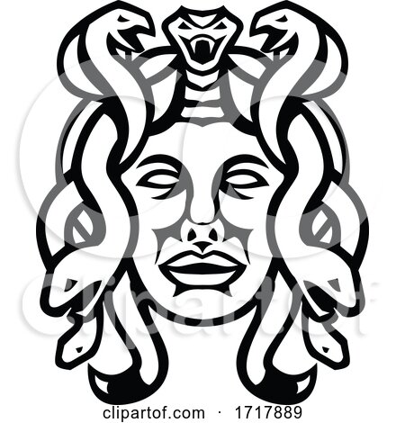 Head of Medusa Greek Goddess Front View Mascot Black and White by patrimonio