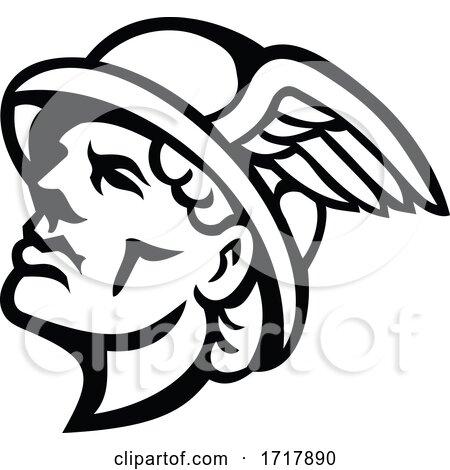 Head of Hermes Greek God Mascot Black and White by patrimonio