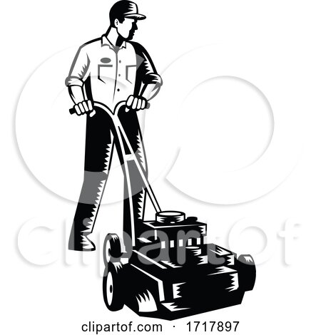 Gardener Mowing with Lawnmower Front View Woodcut Black and White Posters, Art Prints