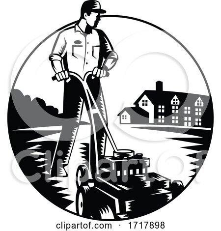 Gardener Mowing with Lawnmower and House Circle Woodcut Black and White Posters, Art Prints